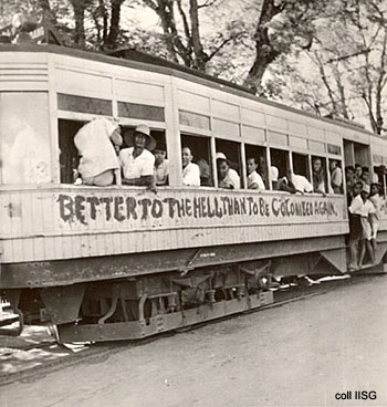 Better to Hell than be colonized again written on train in Indonesia