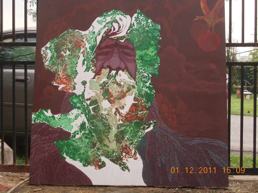 One of Rahmat Haron's paintings in progress - 2011