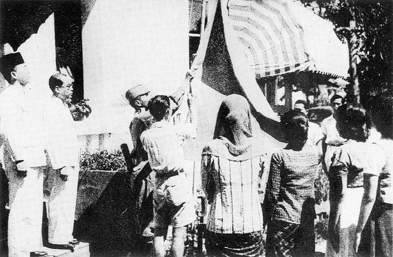 Raising the Indonesian flag on 17 August 1945, By: Frans Mendur