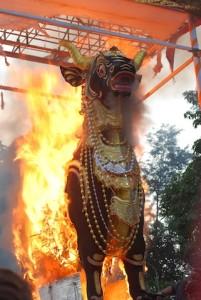 The flames devour the lembu, By: Sandi Tatto