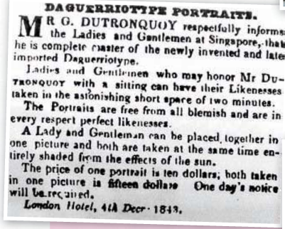 Gaston Dutronquoy's ad in the Straits Times 1843