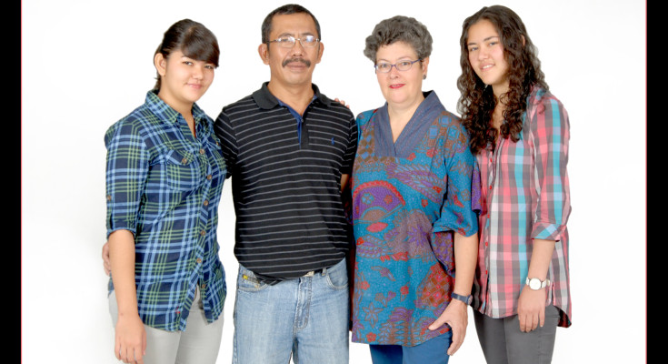 Sita, Oka and daughters Bika (left) and Amba (right)