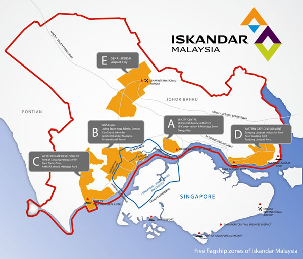 A map of the proposed Iskandar region and Singapore, By: Medini