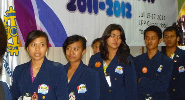High school students from Indonesia at the orientation meeting in Yogyakarta in July 2011, prior to their departure