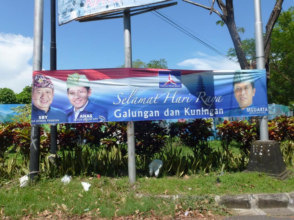 Billboard of the Democrats, wishing Balinese a happy Galungan & Kuningan, By: Sitta van Bemmelen
