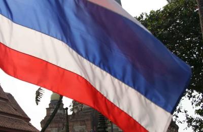 Thai flag in an ancient temple, By: Isaac Olson