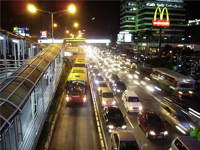 The busway in front of Sarinah, Jakarta, By: Basibanget