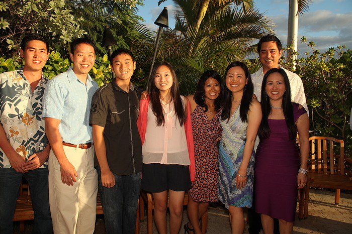 Laura, (in the printed dress) with several of her Korean cousins in Hawaii