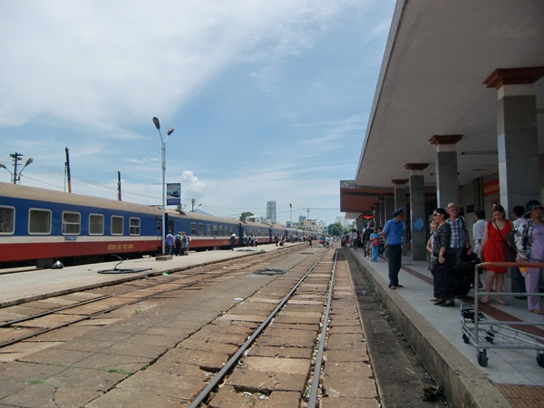 The Reunification Express at the Hanoi train station
