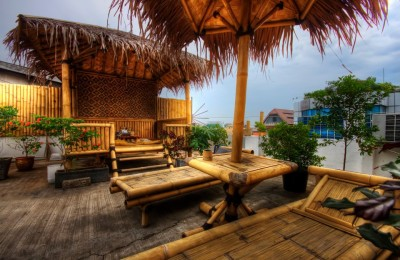 Relax on the rooftop terrace at Jakarta's Six Degrees Hostel