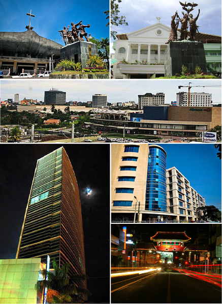 From top, left to right : San Pedro Cathedral, Commemorative Monument of Peace and Unity, Abreeza Ayala Business Park, Landco Pacific Tower, Ateneo de Davao University, Davao Chinatown