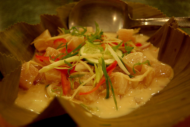 Kinilaw na Isda (Raw Grouper) in hot coconut milk, By: George Parilla