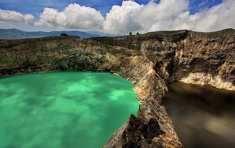 Kelimutu, The Lakes of the Young and Old side by side, By: Neil Liddle