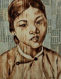 Ngo-Van-Sac_Cô-Gái-Hà-Nội2_Hanoian-Girl2_Đốt gỗ_Woodburn_120x80cm-2017